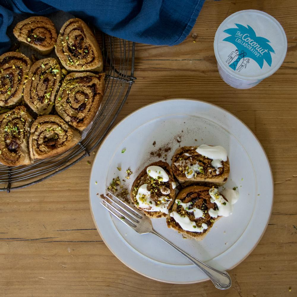 CINNAMON BUNS WITH COCONUT CASHEW FROSTING
