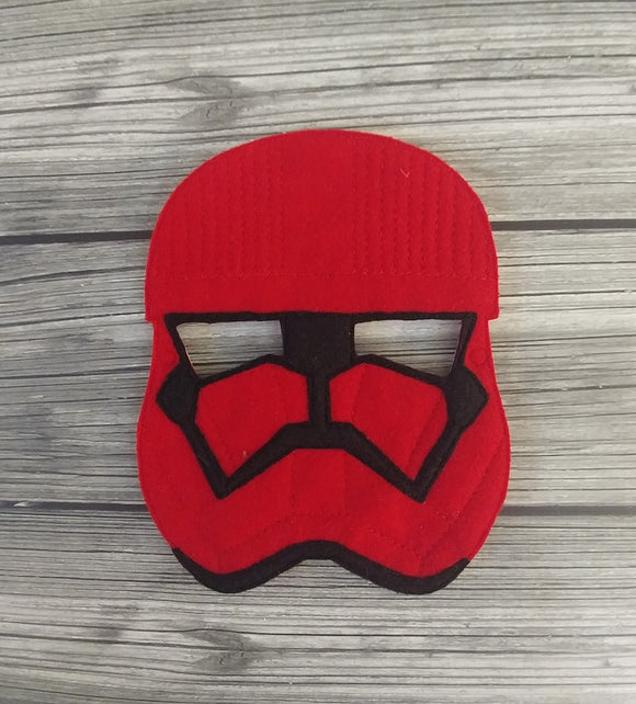 Felt Embroidered Full Face Mask - Red Trooper Mask