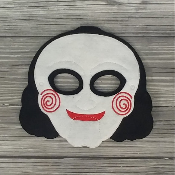 Saw Felt Embroidered Full Face Mask - Jigsaw Mask - Pretend Play Mask - Halloween Costume