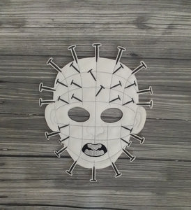 Pinhead Felt Embroidered Full Face Mask - Nailhead Mask - Pretend Play Mask - Halloween Costume