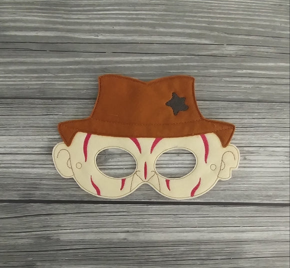 Freddy Felt Embroidered Mask - Nightmare Mask - Pretend Play Mask - Halloween Costume