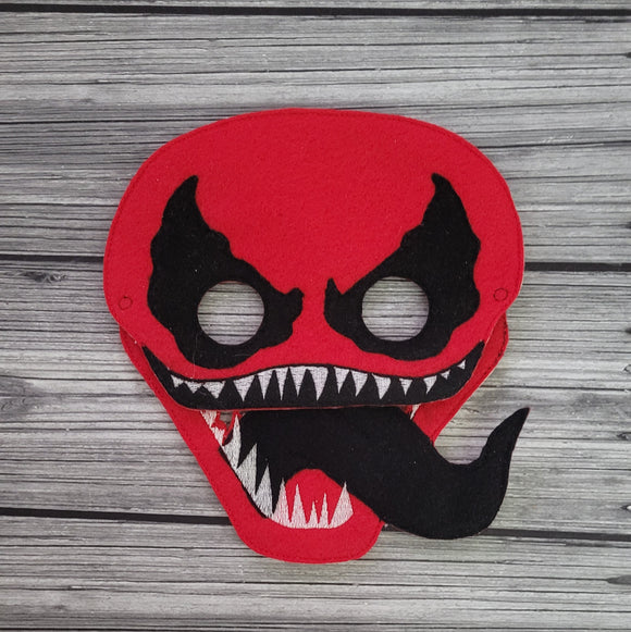 Carnage Super Villain Felt Play Mask - Super Villain Mask - CosPlay - Red Super Villain Mask