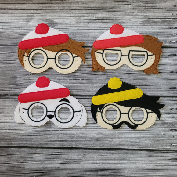 Where's Waldo Inspired Masks - Lost Boy Characters - Waldo - Wilma/Wenda - Woof - Odlaw