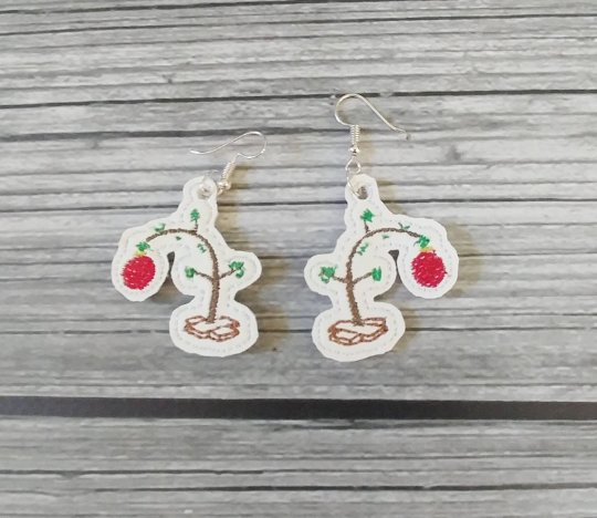 Charlie Brown Christmas Tree Embroidered Earrings