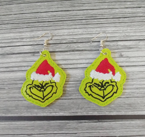 Mean Green One Vinyl Embroidered Earrings