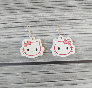 White Kitty Vinyl Embroidered Earrings