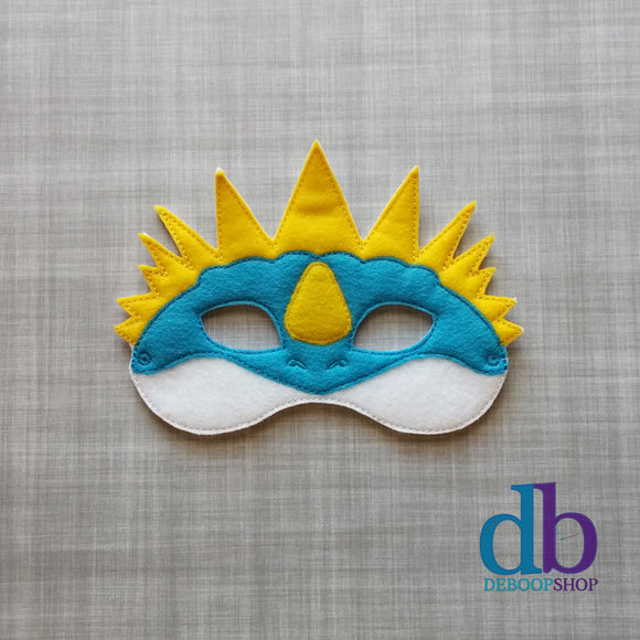 Blue Spiked Dragon Felt Play Mask