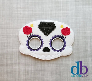 Sugar Skull with Diamond and Roses Felt Play Mask