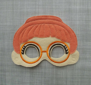 Bridget Orange Glasses Girl Felt Play Mask