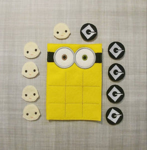 Two-Eyed Yellow Guy Tic Tac Toe Board + Pieces