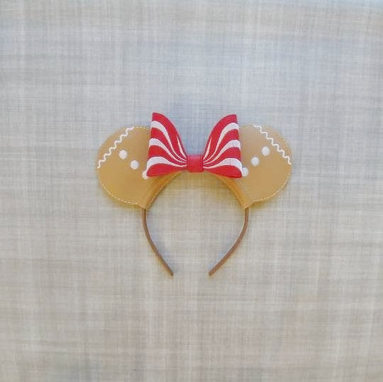 Gingerbread Mouse Ears Headband with Peppermint Bow