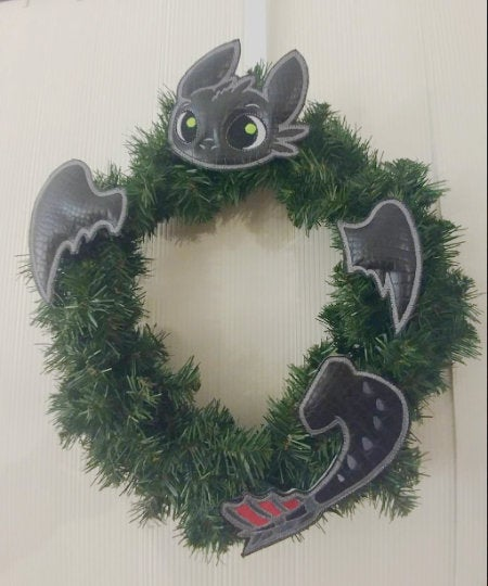 Night Fury Black Dragon Wreath/Tree Decoration