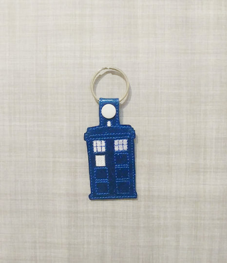TARDIS Vinyl Embroidered Keychain