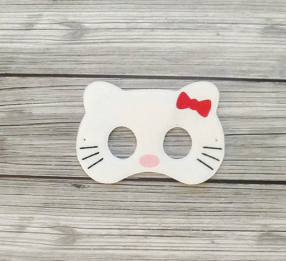 White Welcome Kitty Felt Play Mask