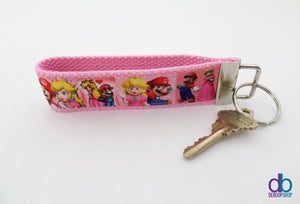 Mario and Peach Nerd Couple Key Fob