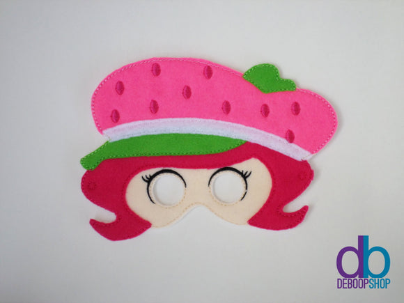 Pink Strawberry Girl Felt Play Mask
