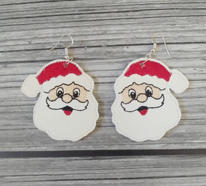 Santa Claus Vinyl Embroidered Earrings