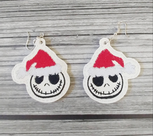 Santa Jack Vinyl Embroidered Earrings