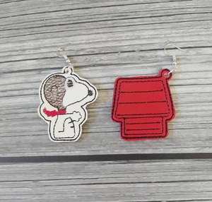 Red Baron and Doghouse Embroidered Earrings