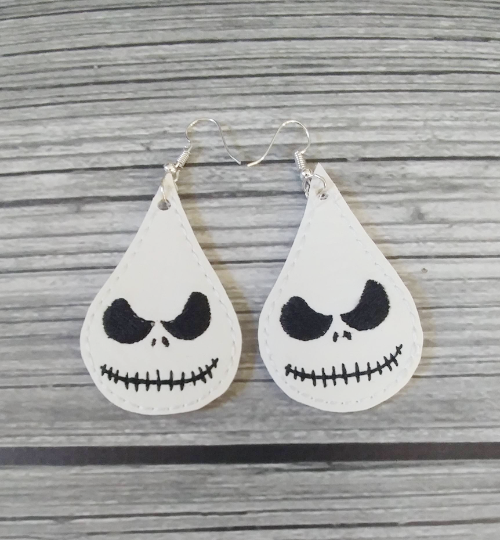 Jack Skellington Vinyl Embroidered Earrings