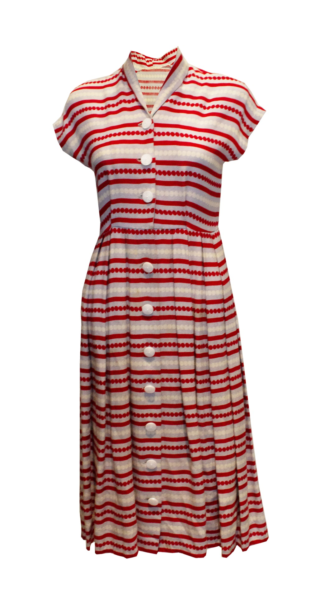 A Vintage 1940s stripe button up Day Dress