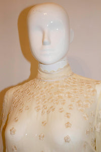 Vintage Couture Ivory Silk Gown with Wonderful Embroidery