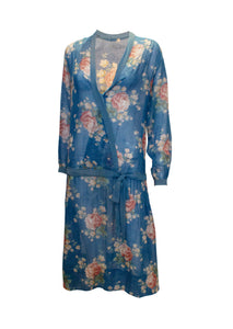 A Vintage 1920s Blue Floral Cotton Dress