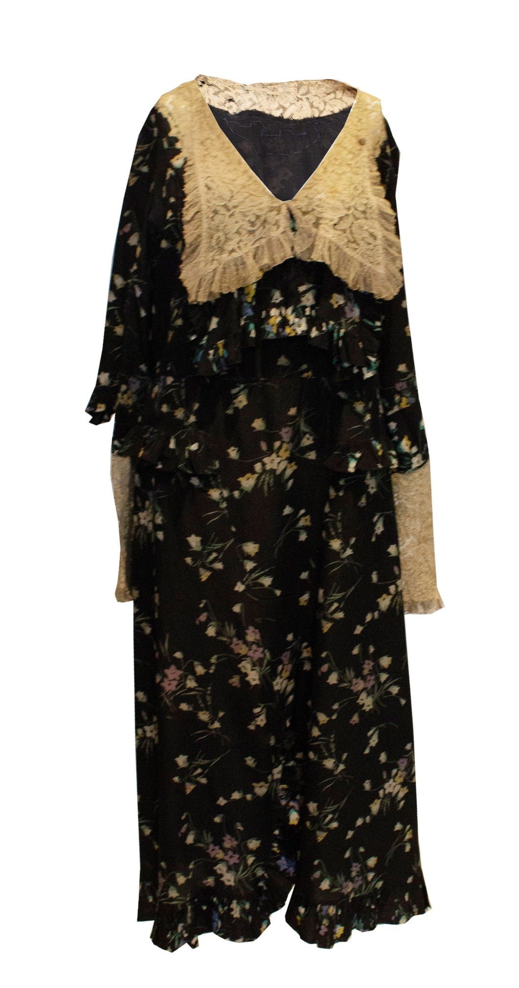 A Vintage 1920s floral print Silk and Lace large collar Dress