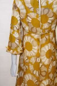 A Vintage 1960s Mustard , Grey and Ivory Print dress by Jollys of Bath and Bristol