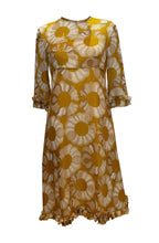 Load image into Gallery viewer, A Vintage 1960s Mustard , Grey and Ivory Print dress by Jollys of Bath and Bristol