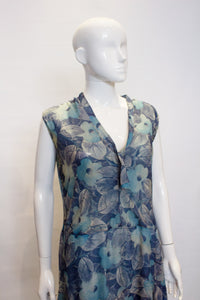 A Vintage 1920s Silk Blue Floral Dress