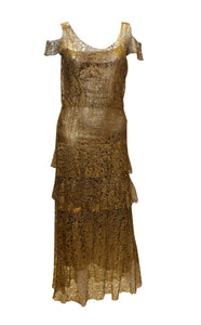 A vintage 1920s Gold Lame and Lace flapper Evening Dress