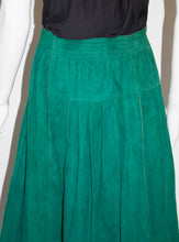 Load image into Gallery viewer, Vintage Jean Muir Green Suede Skirt with Gold Trim