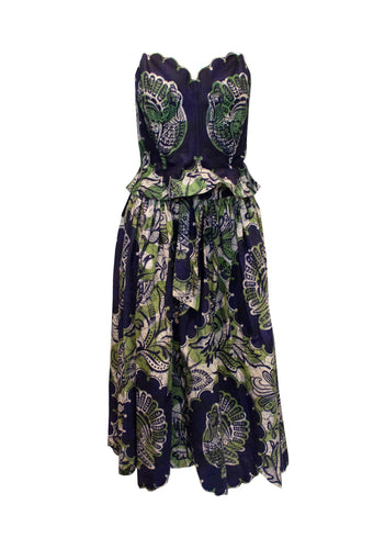A Vintage 1950s Batik Printed Skirt and Bodice