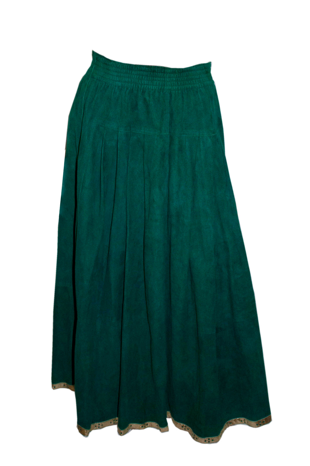 Vintage Jean Muir Green Suede Skirt with Gold Trim
