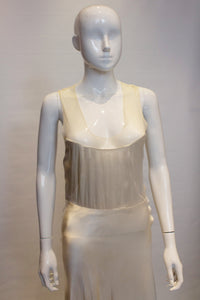 A Vintage 1930s Ivory Net and Satin Slip Dress