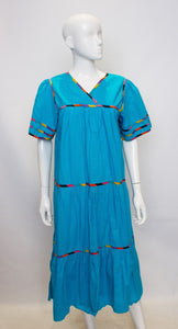 A Vintage 1970s bright blue Sita Cotton Boho Dress