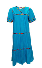 Load image into Gallery viewer, A Vintage 1970s bright blue Sita Cotton Boho Dress