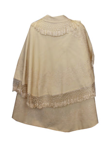 A Vintage edwardain White Wool Cape with Embroidery and Fringing