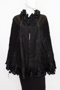 A Vintage edwardian Black Felt Cape with Embroidery Detail.