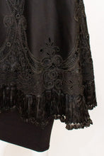 Load image into Gallery viewer, A Vintage edwardian Black Felt Cape with Embroidery Detail.