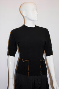 Vintage Black Crepe Top with Gold Bead Detail