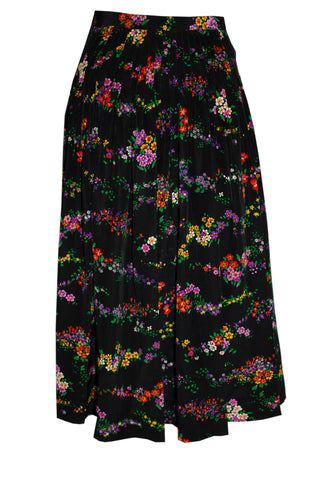 Vintage Yves Saint Laurent Rive Gauche Floral Pleated Skirt
