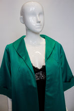 Load image into Gallery viewer, A vintage 1950s turquiose horrockses for harrods evening coat