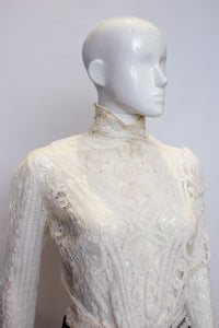 A Vintage edwardian white Ribbon Work Top blouse