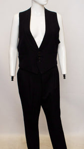 A pair of 1980s black Rare Vintage Trousers by A Caraceni made for Karl Lagerfeld