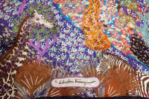 A vintage ferragamo jungle animal printed silk scarf