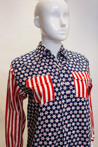 A vintage moschino red white and blue star print shirt