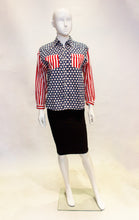 Load image into Gallery viewer, A vintage moschino red white and blue star print shirt