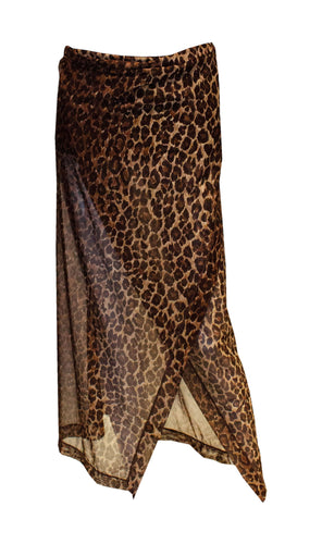 A vintage dolce and gabbana leopard print beach wrap skirt